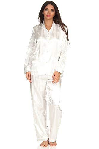 Normann Copenhagen Satin Pyjama Streifendessin - innen angeraut 251 201 94 010, Größe2:44/46, Farbe:Champagner - Streifen-satin Baumwolle Pyjama