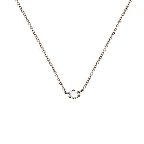 Zhagnyy collana, ipoallergenico, catena clavicola con piccolo diamante a sei griffe collana con argento a forma di fidanzata a vento freddo 925 femmina semplice