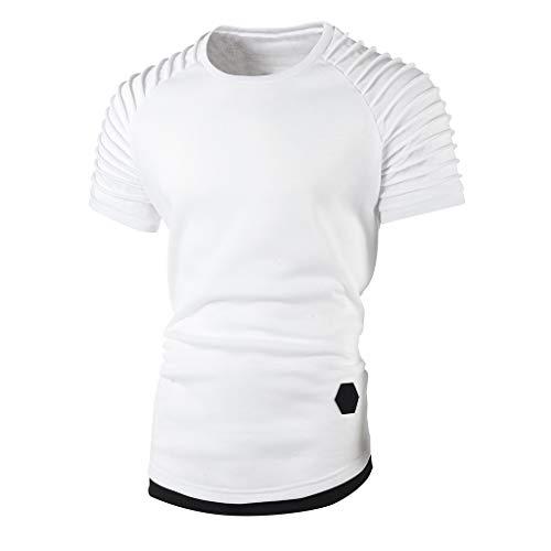 Mymyguoe T-Shirt Männer Kurzarm Mit Kapuze, Lässig Oberteil Top Herren O-Ansatz Normallack Freizeit Fitness Hemd Tops Basic Shirts Slim Fit Elegant und Sportlich Bequem Einfarbig Bluse