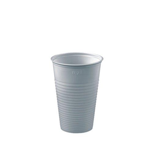 (Papstar Trinkbecher / Plastikbecher (100 Stück), 0.2 l, weiß, aus PS-Kunststoff, Durchmesser 7 cm, Höhe 9.9 cm, mit Füllstrich, klassisches Design, ideal für größere Events und Feiern #12156)