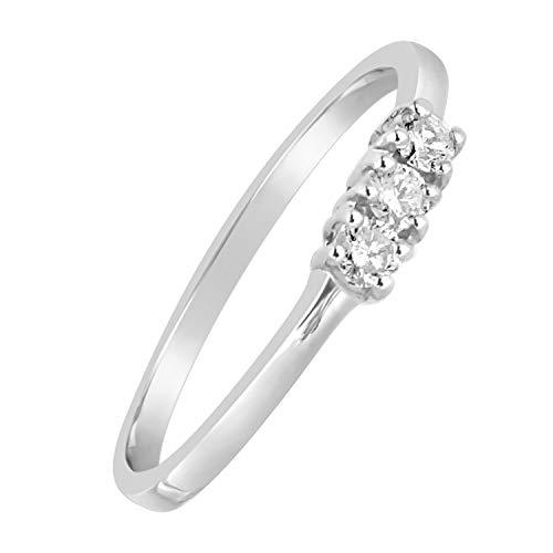 MILLE AMORI Anello Donna Fidanzamento Oro e Diamanti Oro Bianco 9 Carati 375 con 0.06 Carati di Diamanti Clicca Blu e scopri Tutte Le nostre Collezioni