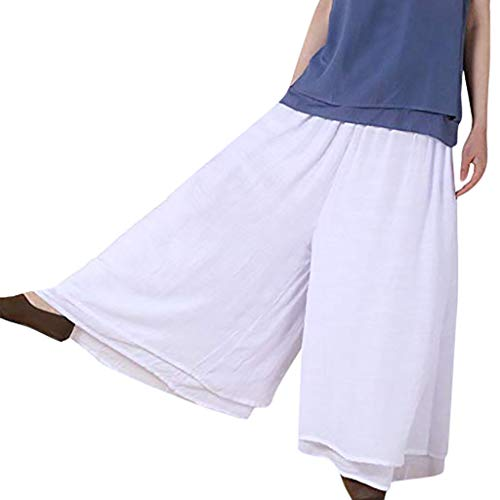 zeithose Baggy Haremshose,Weite Baumwolle und Leinen für Damen Damen Plus Size Solid Damen Harem Ganzkörperansicht Hosen Hosen Weite Leggings ()