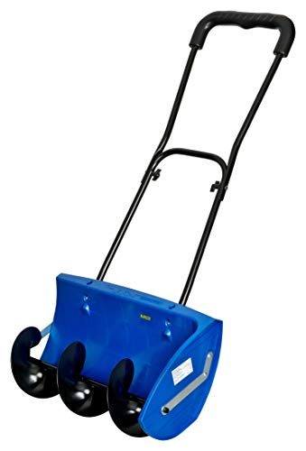 KINZO Schneefräse Manuell | Räumbreite 58cm | Kraftsparender Förderschneckenantrieb | Seitlicher Auswurf | Stabiler Doppelschubbügel | Leise + Umweltfreundlich Ohne Motor | leichter Schneeräumer