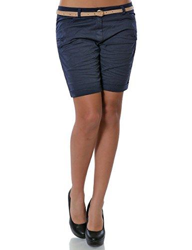 Damen Shorts Chino Kurze Hose inkl. Gürtel (weitere Farben) No 13908, Farbe:Navy;Größe:40 / L