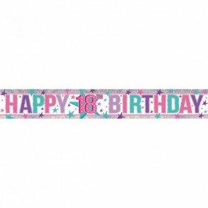 Amscan 99000242,7m Happy 18th Birthday Holografische Folie (Gesicht Nur Malen Kostüme)