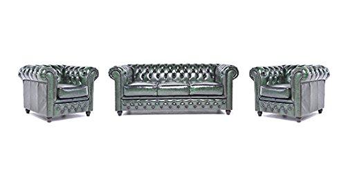 Original Chesterfield Sofa und Sessel – 1 / 1 / 3 Sitzer – Vollständig Handgewaschenes Leder – Antik Grün