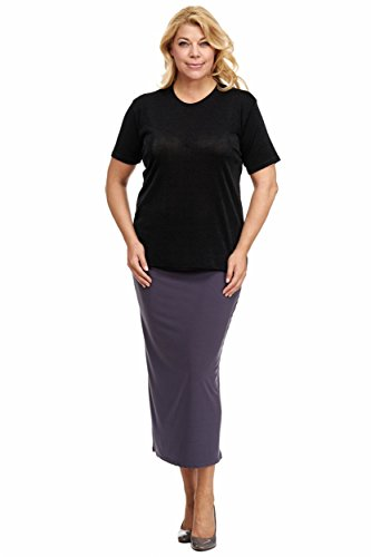 Magna - Basic Damen Slinky Stretch Kurzarm Shirt Farbe schwarz, Größe 48/50 - Slinky Stretch