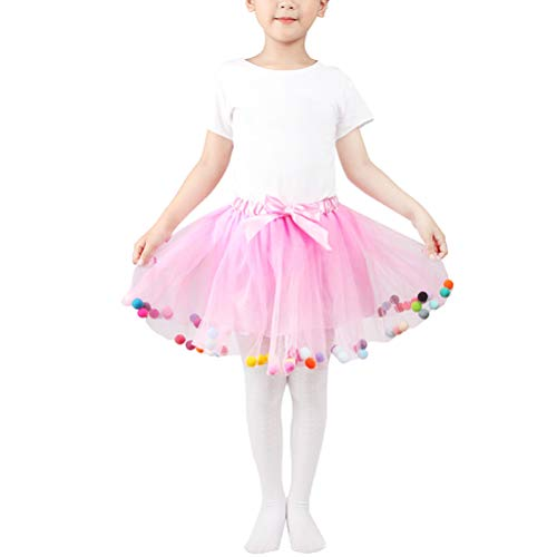 TENDYCOCO Tutu Röcke Kinder elastische Taille Pettiskirt Prinzessin Tüllrock Bunte Pompom Mini Röcke Kinder Baby Mädchen (Rosa, Freie Größe)
