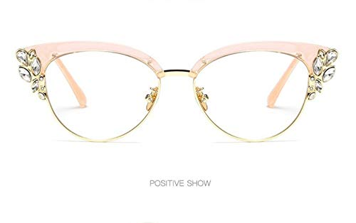 WSKPE Sonnenbrille,Die Hälfte Frame Crystal Diamond Clear Sonnenbrillen Mode Cat Eye Sonnenbrille Frauen Uv400 Rosa Rahmen Klare Linse