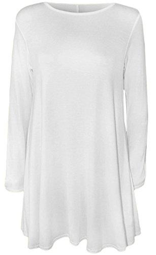 Robe Midi à manches longues Patineuse Swing en jersey évasé Thé Uni Femmes Blanc