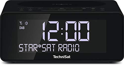 TechniSat Digitradio 52 Stereo DAB Radiowecker (Wecker mit Wireless-Charging Funktion, DAB+, UKW, Uhrenradio, Snooze-Funktion, Sleeptimer, dimmbares Display, Kopfhöreranschluss) schwarz