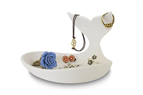 j-me original design Baby Whale Jewelry Dish, Plastic, White
