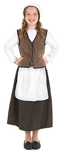 Tudor Dienstmädchen Kostüm - Mädchen Tudor Viktorianisch Küche Hand Dienstmädchen Spülküche Dienstmädchen Historisch Mädchen Büchertag Kostüm Kleid Outfit - Braun, 6-8 Years