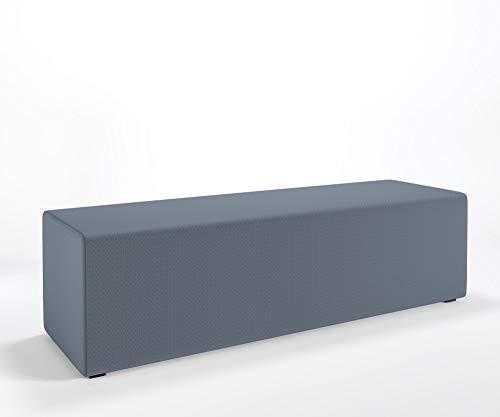 Designer Hockerbank MIA Prism Polsterbank Sitzpouf Schurwolle Main Line Flax, Farbe :MLF22 - Grau-Blau