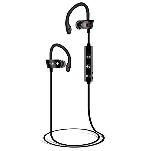 BZLine Sport Bluetooth Headset, Kabellose Kopfhörer Wasserdichte Bluetooth Rauschunterdrückung Stereo Headset mit Mikrofon für iPhone, iPad, Android, Samsung, Sony, HTC, Huawei usw. (Schwarz) Smart Talk Bluetooth