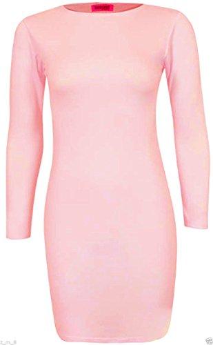 Mesdames Haut Tunique Mini robe Bodycon stretch uni jersey à manches longues Taille 8–22 rose bébé