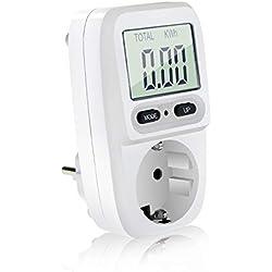Aiglam Medidor de Consumo de Energía, Medidor de Consumo de Corriente del Medidor de Energía con Pantalla LCD y Protección de Sobrecarga, Potencia Máxima 3680W