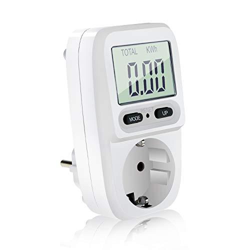 Homga Energiekostenmessgerät Digitaler Energiekosten Messer Leistungsmessgerät Stromkostenmessgerät mit LCD Bildschirm, Überlastsicherung, Maximale Leistung 3680W