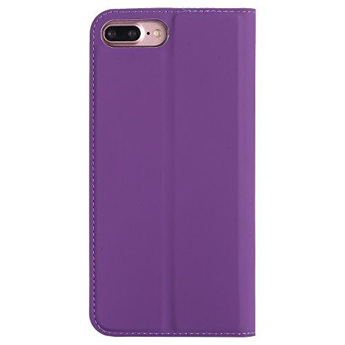 Hülle für iPhone 7 plus , Schutzhülle Für iPhone 7 Plus Normallack-einfache Beschaffenheit PU-lederner Fall-magnetischer Verschluss-Art-Standplatz-Fall-Abdeckung mit Einbauschlitz ,hülle für iPhone 7  Purple