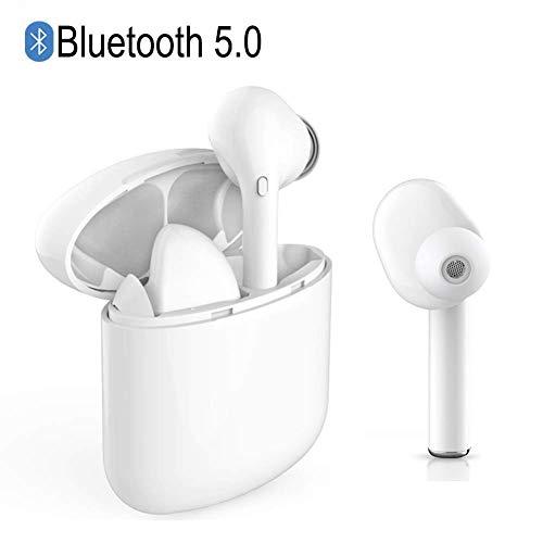 Bluetooth Kopfhörer in Ear 5.0, IPX5 wasserdichte Bluetooth Headset mit Mikrofon und Tragbarer Ladekästchen, Stereo Hi-Fi Ohrhörer Earbud mit Geräuschunterdrückung (Weiß)