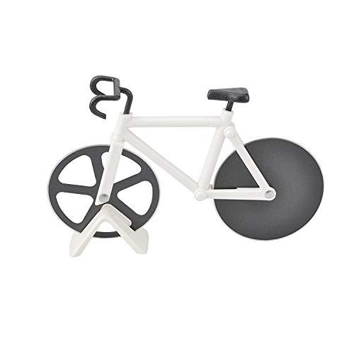 Workbees Fahrrad Pizzaschneider Pizza Cutter Pizzaroller aus Edelstahl Räder (Weiß)