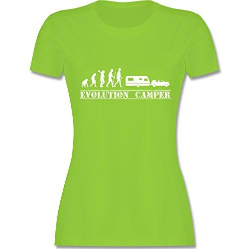 Evolution - Evolution Wohnwagen Weiß - Damen T-Shirt Rundhals Hellgrün