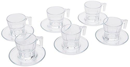 PASABAHCE - 1611183 - Casablanca Espresso Cups with Saucer/Set of 12 / Transparent Glass