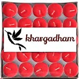 KHARGADHAM Tea Light Candle (RED, Set Of 50)