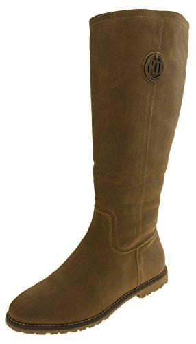 donne Keddo pelle scamosciata del Faux calda inverno stivali alti al ginocchio Cammello