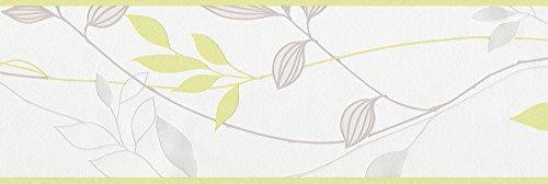 A.s. création 249623 avenzio 4 - bordo adesivo da muro, colore: grigio/crema/verde chiaro