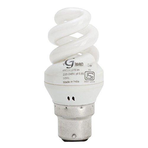 5 Watt - CFL Spiral (Compact Fluorescent Light) - Pack of 1 Bulb - ISO 9001 2008 certified - Made in India - Glean Lights  available at amazon for Rs.170