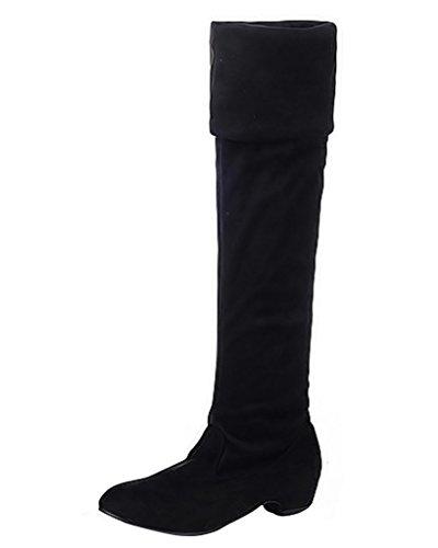 Minetom Mujer Otoño Invierno Boots Moda Botas Talón Plano Sencillo Botas Largas Cálido Zapatos Negro EU 38