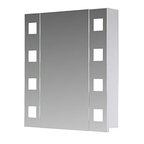 #Eurosan 1-türiger Spiegelschrank, Superflach, Integrierte LED-Frontbeleuchtung, Breite 60 cm, Weiß, New York, NY60#