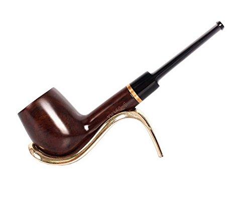Restbuy Pipe Droite Noir Mat - Tuyau en Acrylique avec Anneau - Pipe à Tabac en Bois -Couleur Bois