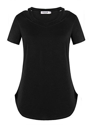 DSUK Womens Short Sleeve T Shirts V Neck Cold Shoulder Loose Tunic Tops Casual Comfortable Blouse