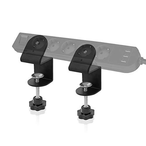Steckdosen Halterung,LANMU 2 Stück Steckdosenleiste Halter Befestigung Tischsteckdosen Organizer für Brennenstuhl/Belkin und andere Mehrfachsteckdose (Schwarz)