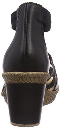 Rieker  66554, Sandales pour femme Noir - Schwarz (schwarz/schwarz/schwarz/schwarz / 00)