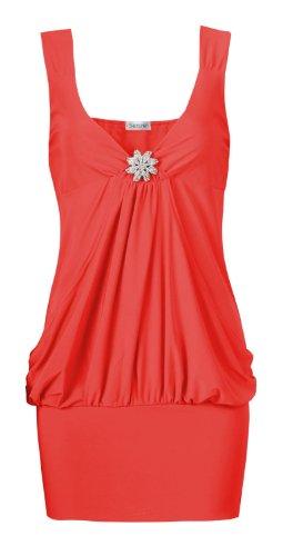 Fast armellose fashion pour femme coupe détaillée drapé artebenen partie top - Korallen