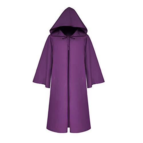 iche Einfarbig Hoodie Umhang Cape Devil Vampire Wizard Kinder Erwachsene Cosplay Purple Adult XL ()