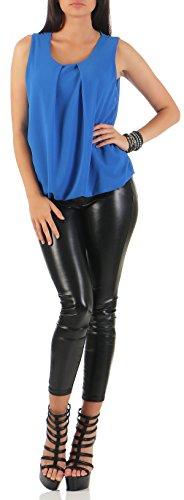 malito elegante leichte Bluse ärmellos Sommer 6879 Damen One Size Blau