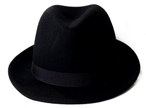 Schwarz Filz Trilby Hat–Größe 54cm (Michael Jackson Fedora Hut Schwarz)
