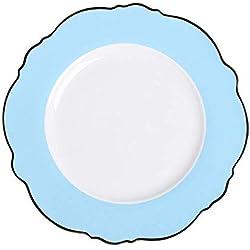 wangmingzhuanmai Phnom Penh Plato de cerámica Rosa Lunares Vajilla Plana y Saludable, Azul, Plato Plano de 10 Pulgadas