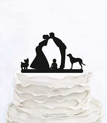 Tortenaufsatz mit Junge und 2 Hunden Hochzeitstorte für Braut und Bräutigam hält Baby Custom Cake Topper Silhouette mit Kind