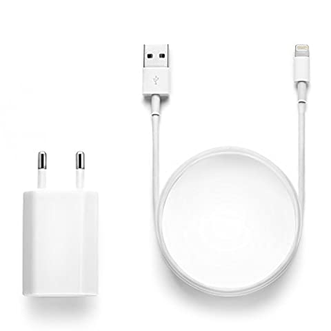 Original iProtect 2 en 1 kit avec câble USB de charge et un adaptateur pour Apple iPhone 7, 7 Plus, iPhone 6, 6 Plus, iPhone 5 5s 5c, iPod Touch 5G, iPad mini, iPad mini 2, iPad 4, iPad Air, iPad Air 2, iPod Nano 7G en blanc