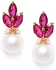 Zaveri Pearls Pink Cubic Zirconia & Pearl Contemporary Brass Stud Earring For Women-ZPFK