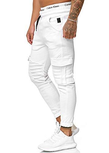 OneRedox Herren Jogging Hose Jogger Streetwear Sporthose Modell 1214 Weiss XXL (Weiße Jogger Hose)