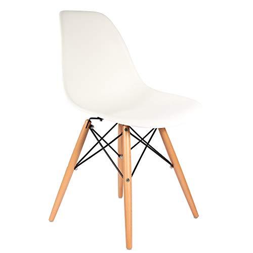 Chaise DSW - Blanc, Naturel