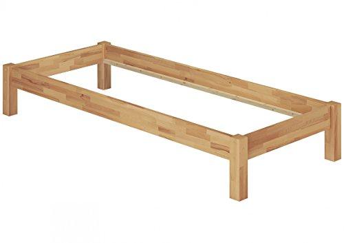 Erst-Holz® Futonbett Einzelbett Natur 120x200 Jugendbett Buche-Bettgestell massiv ohne Zubehör 60.84-12 oR