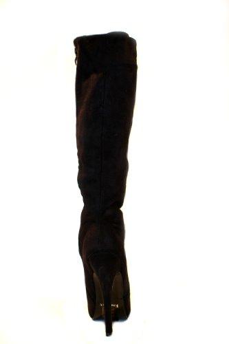 EROGANCE aspect daim plateau high heels bottes hautes noir a3753/eU 36 à 46 Noir - Noir