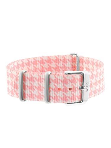laVIIDA Uhrband LB-SIB1707S Ersatzband Uhrband Stoff 18 mm Rosa-Weiß-Silber